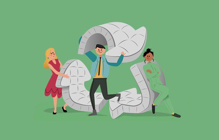 Caricature de trois personnages formant le logo du recyclage.